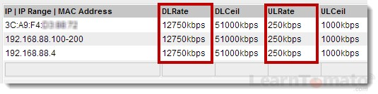 Set bandwidth limits based on IP address or  MAC address