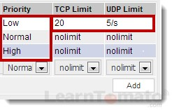 Set bandwidth limiter priorities for TCP and UDP connections.