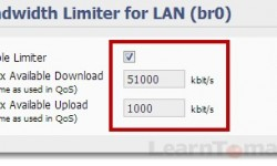Bandwidth limiter options in Tomato Firmware