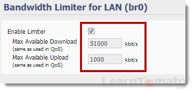 Enable the bandwidth limiter for LAN in Tomato Firmware