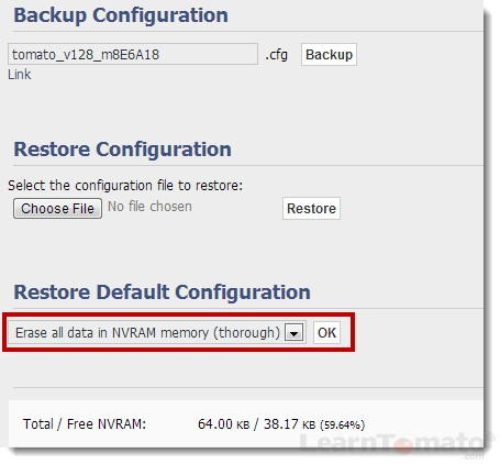 How to clear the NVRAM to reset the Tomato router to a default state.
