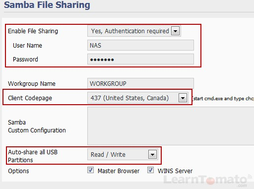 Enable file sharing on your NAS Server.