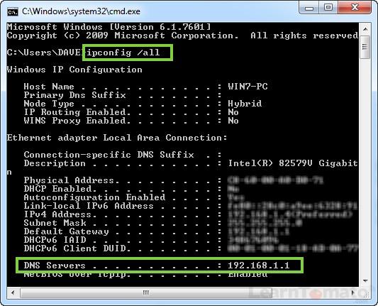 Check DNS Server IP address