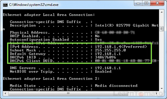 Windows CMD shows your Private IP Address and subnet