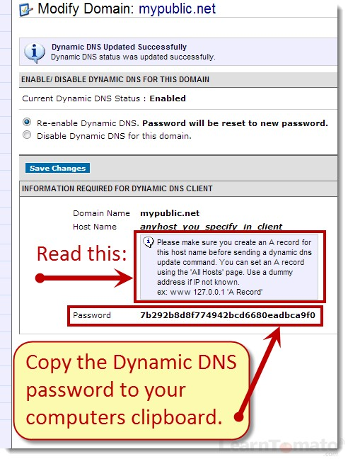 Record the Namecheap Dynamic DNS client password. We will enter this in Tomato later.