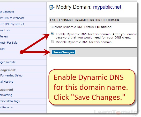 Enable Namecheap Dynamic DNS for this domain name and save your changes.