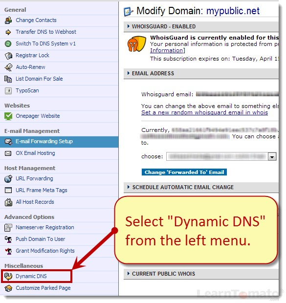 To modify the namecheap domain, click Dynamic DNS.