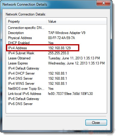 Network connection details show the LAN IP of the VPN client.