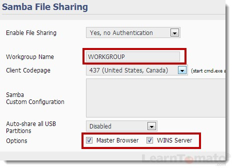 Ensure that samba file sharing and WINS server are checked
