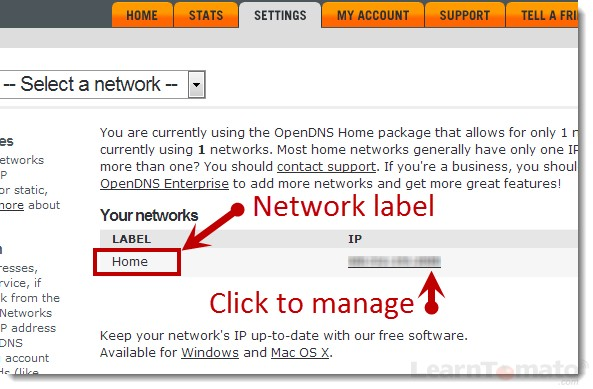 Choose a label for each network you manage.