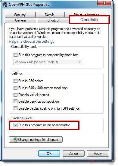 Choose OpenVPN Administrator rights privileges