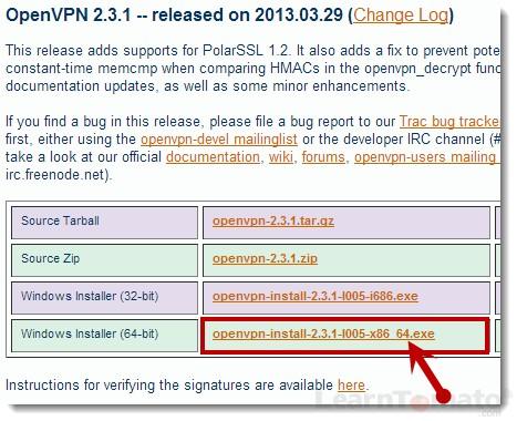 Download OpenVPN client software