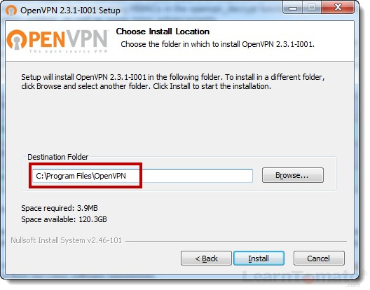Choose the directory in which to install OpenVPN