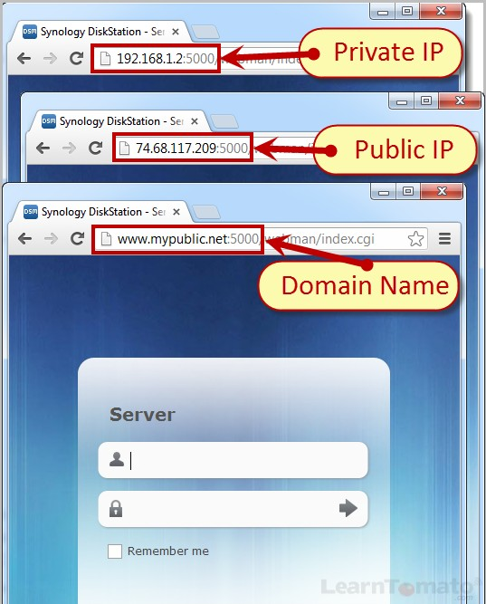 Use a public domain or public IP address to gain remote access to your LAN.