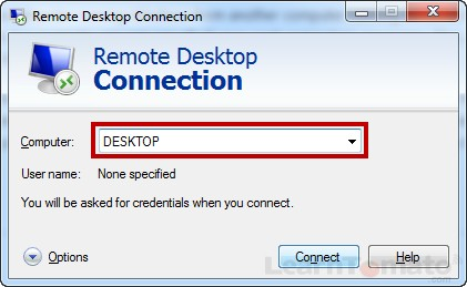 When using remote desktop connection over LAN, enter the Host ID of the computer you wish to connect to.