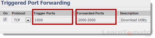 Triggered port forwarding rules open and close ports based on application for an undetermined amount of time.