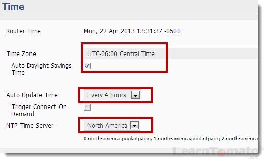 How to setup a router time zone and NTP time server to auto update the local time.