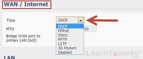 On the client router, select DHCP for the WAN / Internet type.